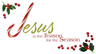 Christmas leaves decoration with candy cane as Jesus is the reason for the season background picture