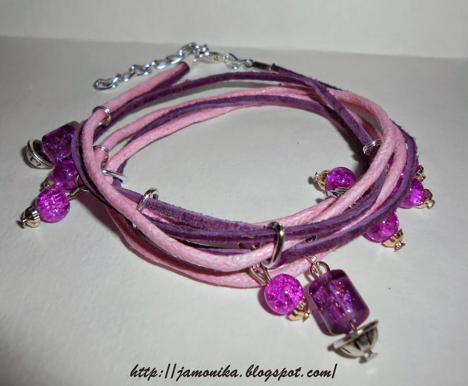 Różowa bransoletka sznurek rzemyk koraliki