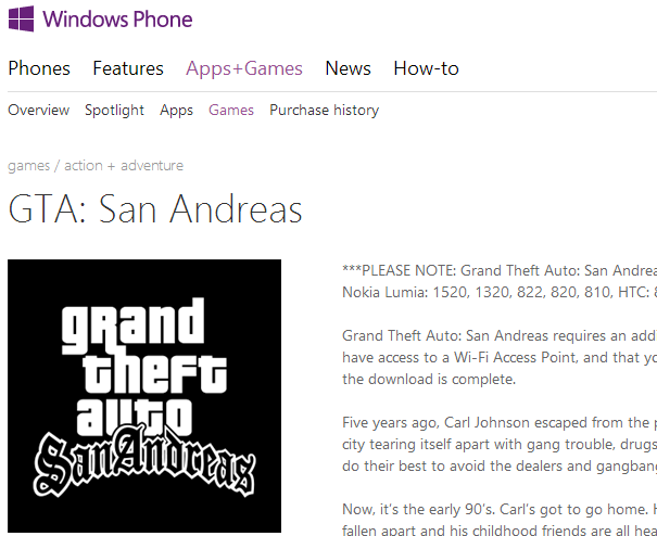 Grand Theft Auto San Andreas for Windows Phone