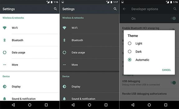 Android M - Opções de Tema Escuro, Leve e Automático