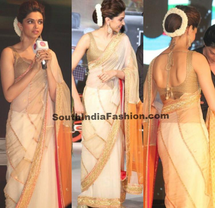 Deepika Padukone in Off White Saree -South India Fashion
