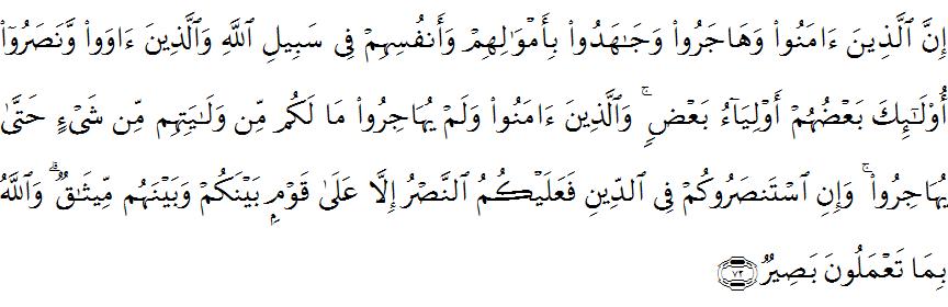 Surat Al Anfal ayat 72