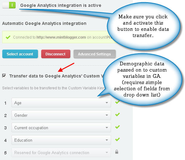 GA integration dialogue box