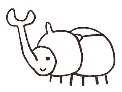 カブトムシのイラスト(虫) モノクロ線画