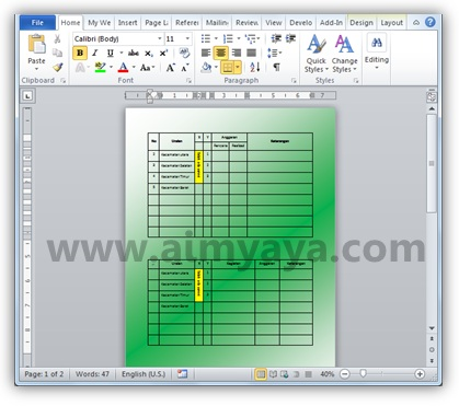 Gambar: Contoh warna gradient background dokumen microsoft word 2010