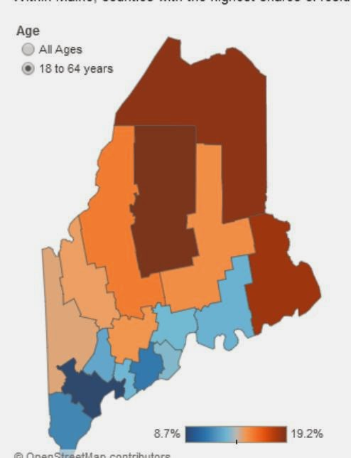 Maine's counties in different colors, ranging from dark blue (Cumberland) to medium blue (southern coast mostly) to light tan-orange (Oxford, Franklin, Kennebec, Penobscot, Somerset), to dark red and brown (Washinton, Aroostook, Piscataquis).