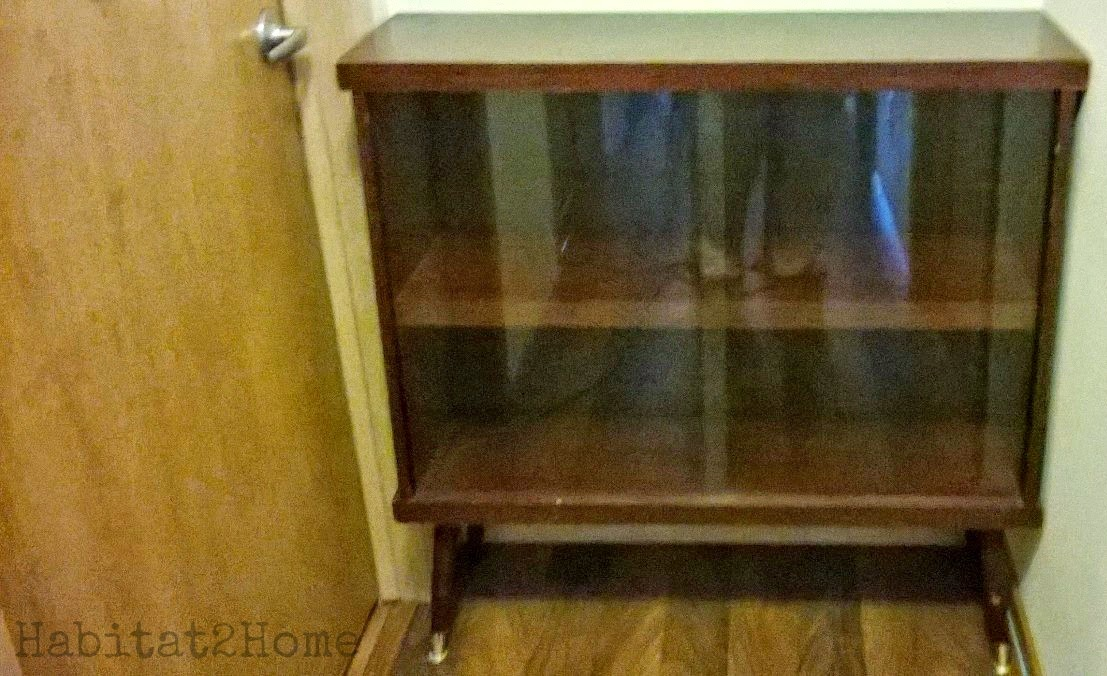 Mid Century Cabinet with Glass Sliding Doors As Is