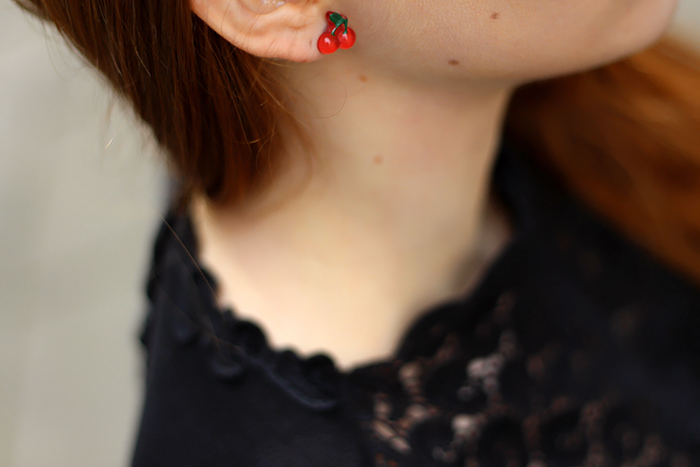 fashion blogger outfit detail shot cherry earrings