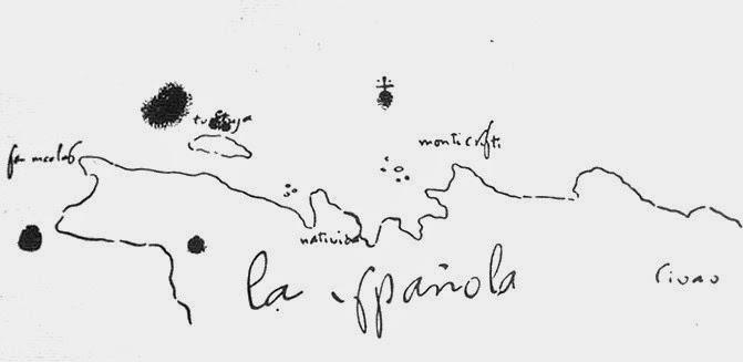Mapa de La Española realizado por Cristobal Colón - www.historiadelascivilizaciones.com