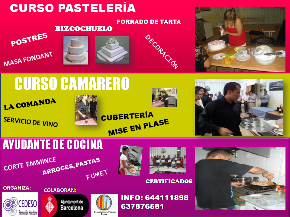Formaci n de camarero ayudante de cocina reposter a pasteler a octubre bcn cedeso - Curso de ayudante de cocina ...