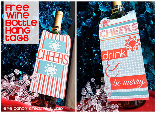 free wine bottle hang tags, holiday cocktails, holiday hostess gift idea
