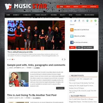 Music Star blog template. template image slider blog. magazine blogger template style. wordpress theme to blogger. template blog music