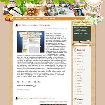 Delightfully Bizarre Vietnam Taste blogger template from wordpress. travel blog template.