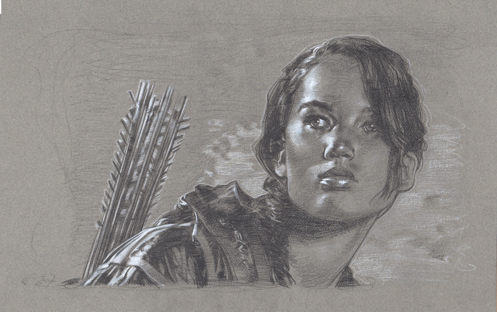 Jennifer Lawrence, Hunger Games Drawing, Artwork is Copyright © 2014 Jeff Lafferty