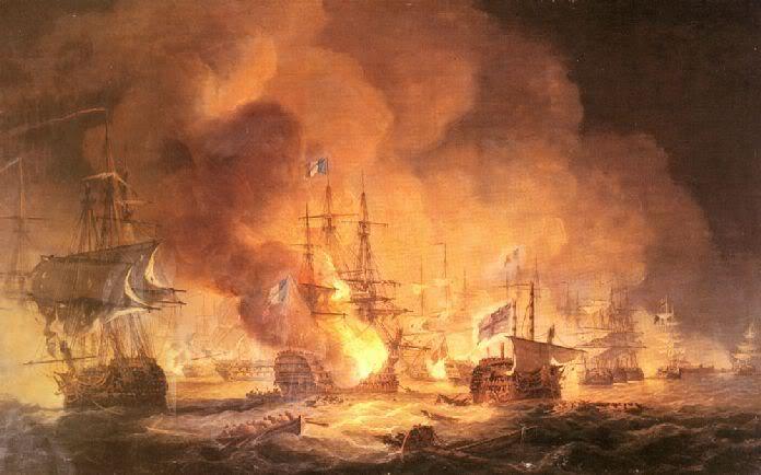 La Batalla del Nilo entre las fuerzas navales francesas vs la Armada Real Inglesa en 1798