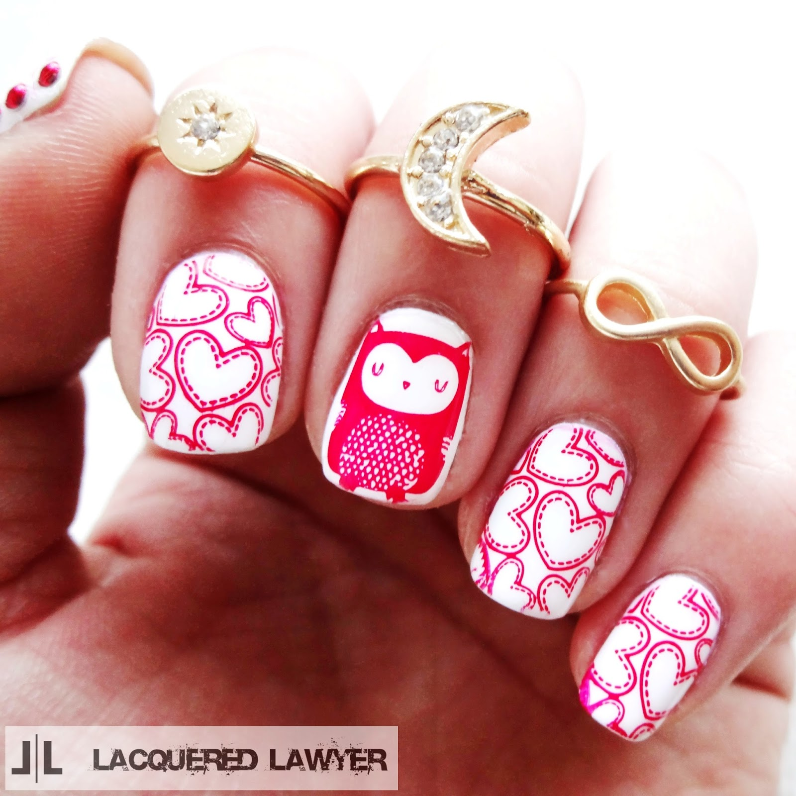 Owl and Heart Nail Art