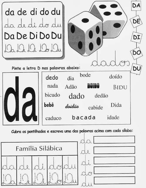 dado,Atividades com a Letra D,alfabeto,alfabetização,anos iniciais, atividades para imprimir,letras,letra D,1º ano, ensino fundamental.