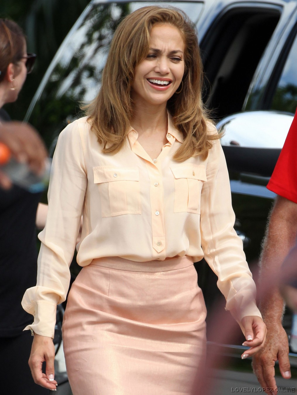 American Power Jennifer Lopez Peach Silk Blouse