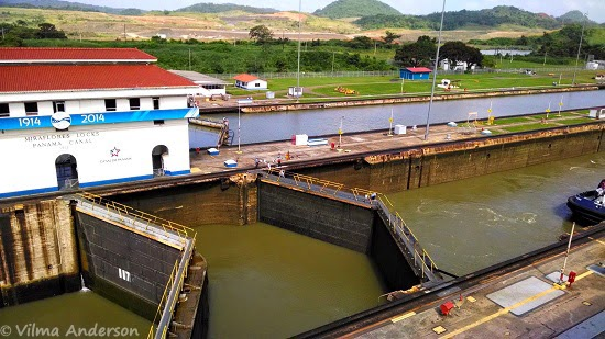 View of the Miraflores Locks at the Panama Canal
