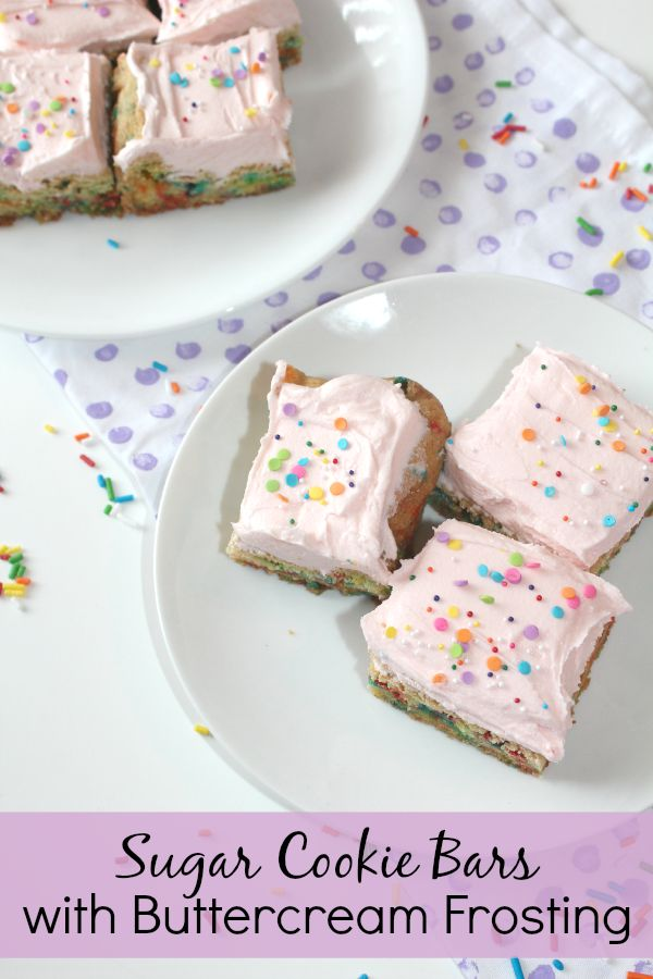 Sugar cookie bars with buttercream frosting