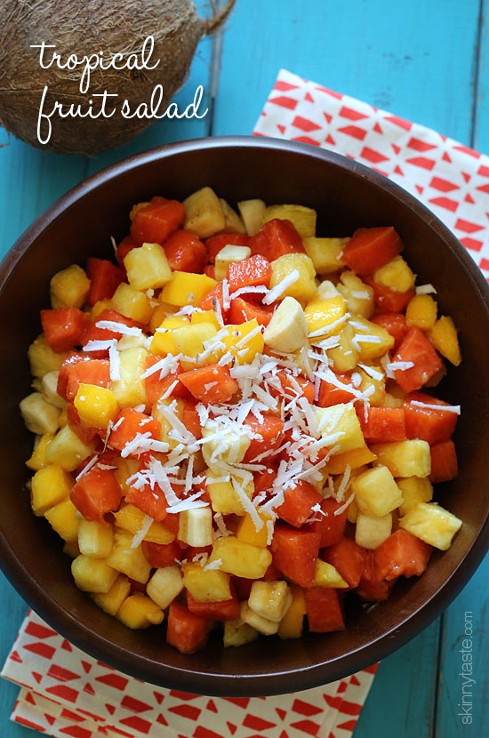 This tropical fruit salad, made with fresh papaya, mango, pineapple ...