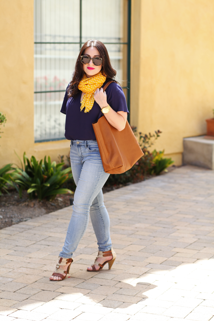 cuyana-tote-fraas-yellow-polka-dot-scarf-le-tote-top-mac-girl-about-town-lipstick-michael-kors-watch-karen-walker-super-duper-strength-sunglasses-loft-denim-king-and-kind-blog-spring-outfit-ideas