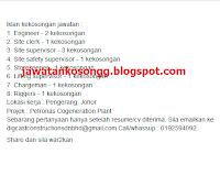 Petronas Cogneration Plant Kerja Kosong