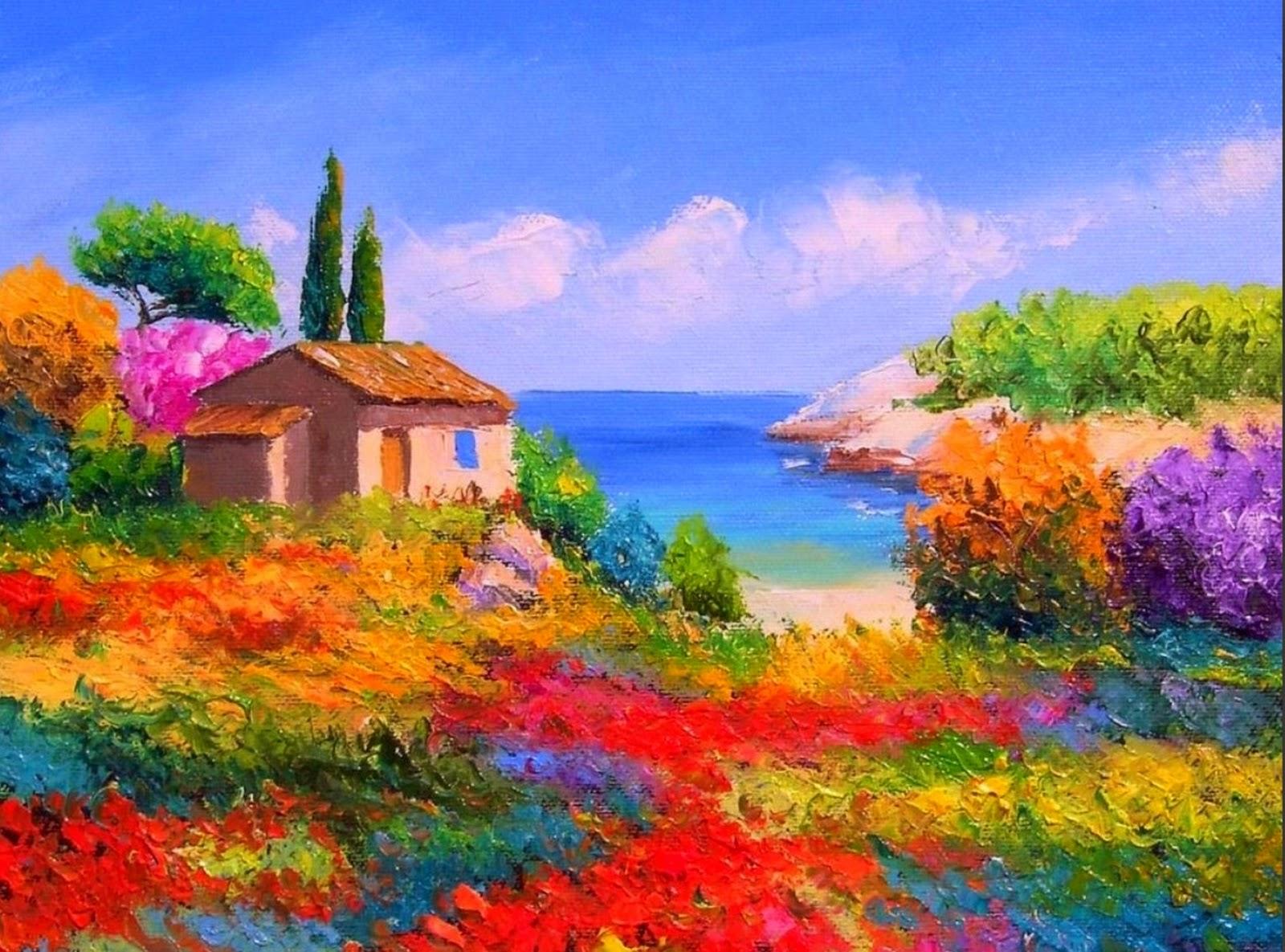 paisajes-con-flores-pintados-con-espatula