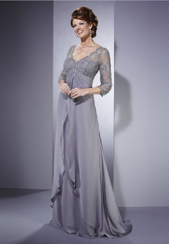 Chiffon and lace v neck empire a line long mother of the bride dress