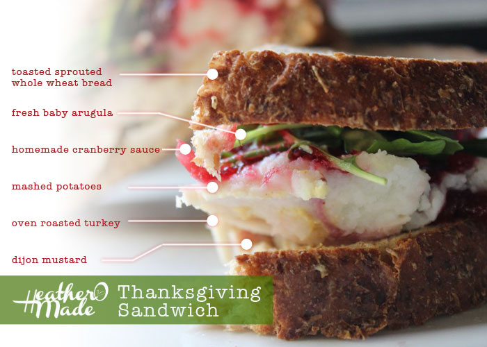 thanksgiving sandwich with leftovers. heatheromade. recipe