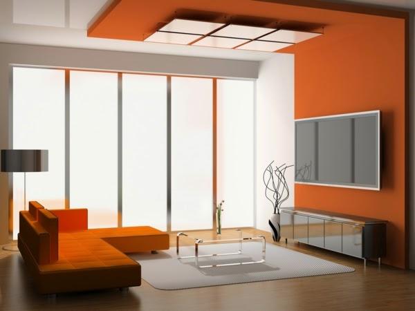 Sala en naranja gris y blanco  Ideas de salas con estilo