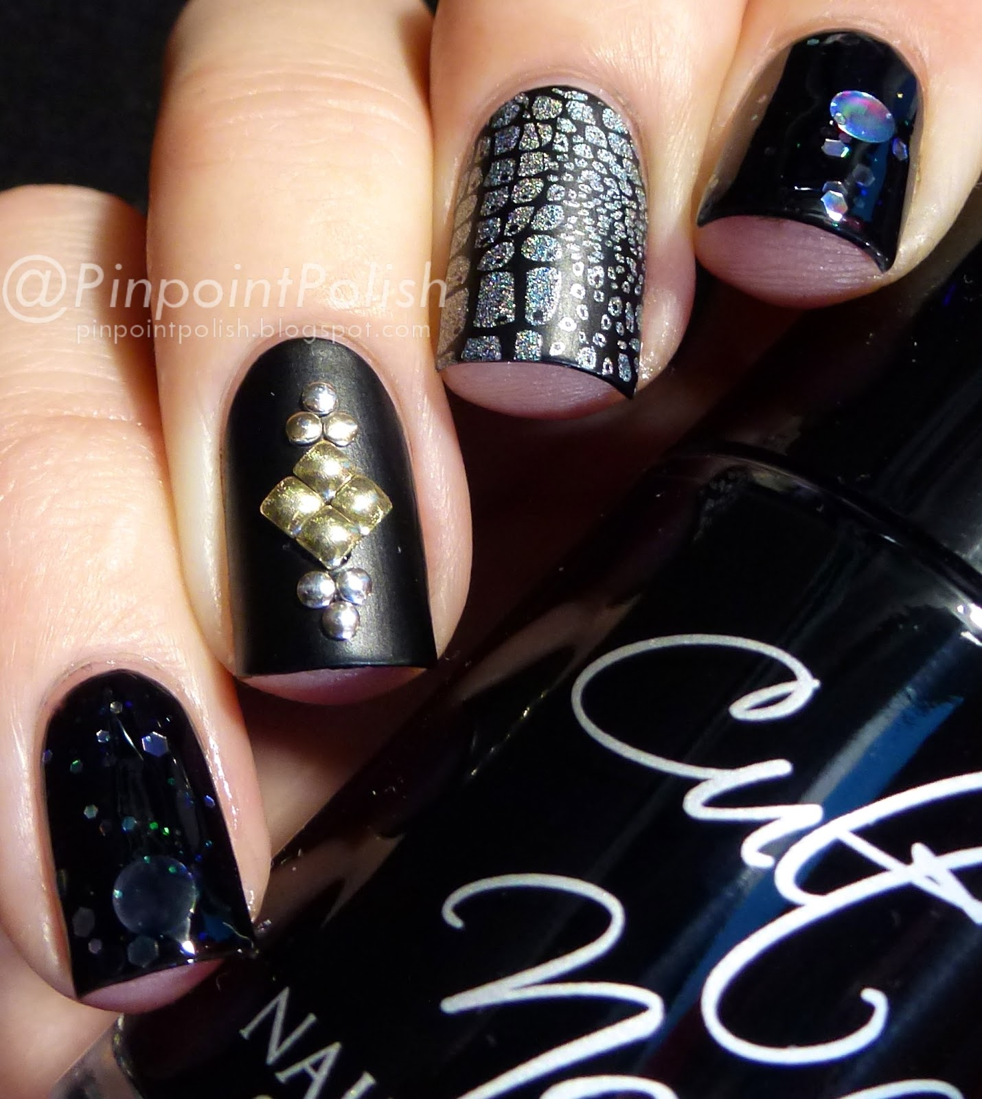 Cult Nails Fetish, a-england Encore Margot, Emily de Molly Dark Forces, stamping, studs
