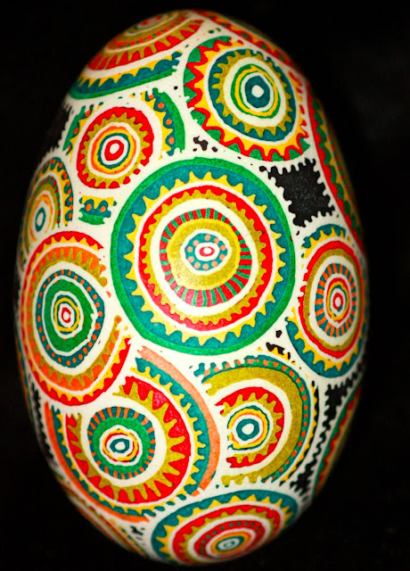 Contemporary Batik Eggshell Colorful Medallions