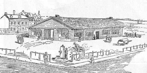 St Lawrence market 1803 - sketch courtesy of Toronto Then and Now Blogspot