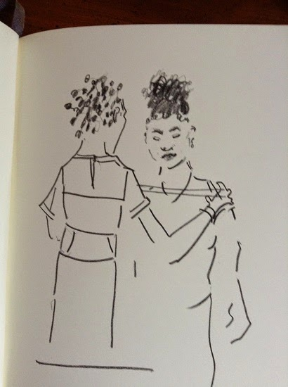 Getting Fitted by Amber. Drawing by Diane Roka