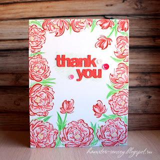 wplus9 pretty peonies pink cas clean&simple card thank you handmade Hamster-sensey cardmaking scrapbooking открытка чисто и просто цветы пионы розовый спасибо ручная работа скрапбукинг