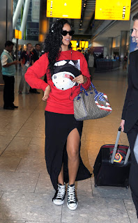 Rihanna spotted at London's Heathrow Airport