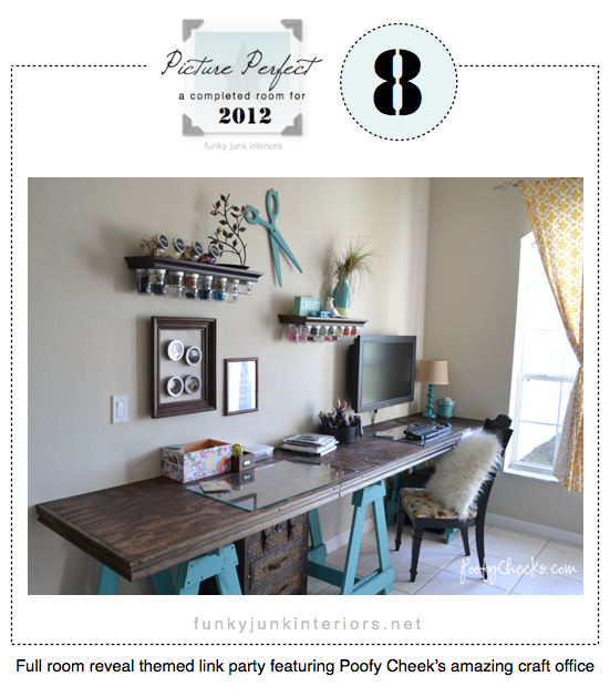 Picture Perfect full room reveals, featuring Poofy Cheek's amazing craft room - via Funky Junk Interiors