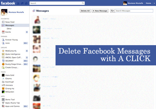 How to delete all facebook messages in one click just for shared to delete messages on facebook you will need to open the individual message go to options and start selecting the message you want to delete ccuart Image collections