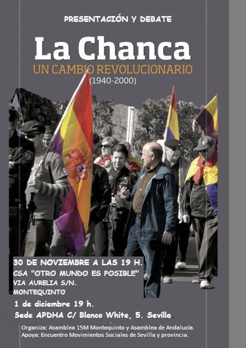 """PRESENTACIÓN LIBRO (en Sevilla) Y DEBATE: """"La Chanca.Un cambio revolucionario"""". (Pinchar cartel)."""