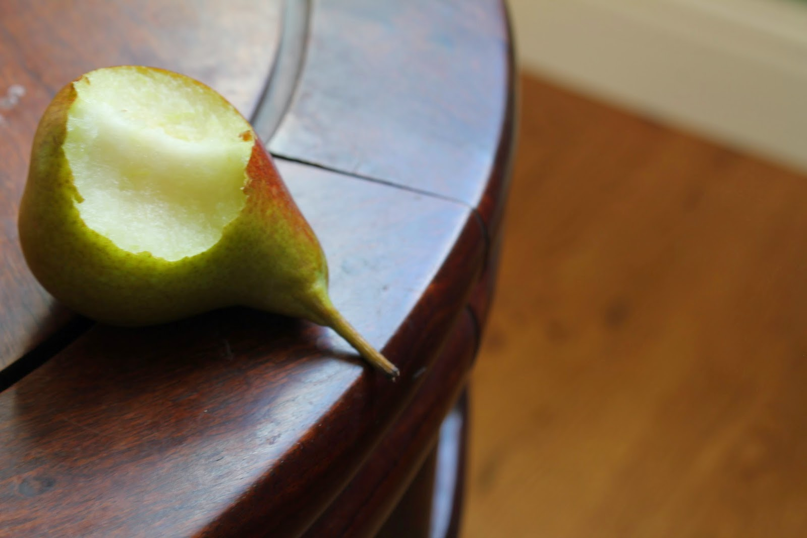 Seckle pear on table