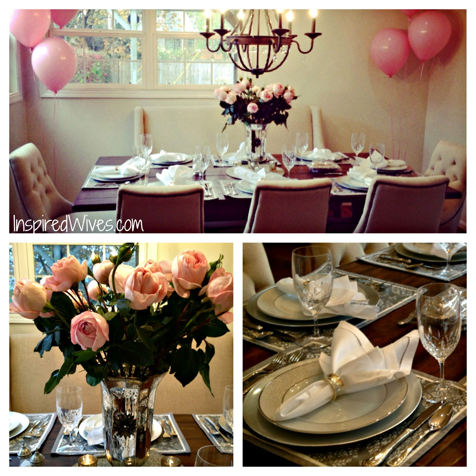 Inspired i dos elegant dinner party think pink for Adult birthday party decoration