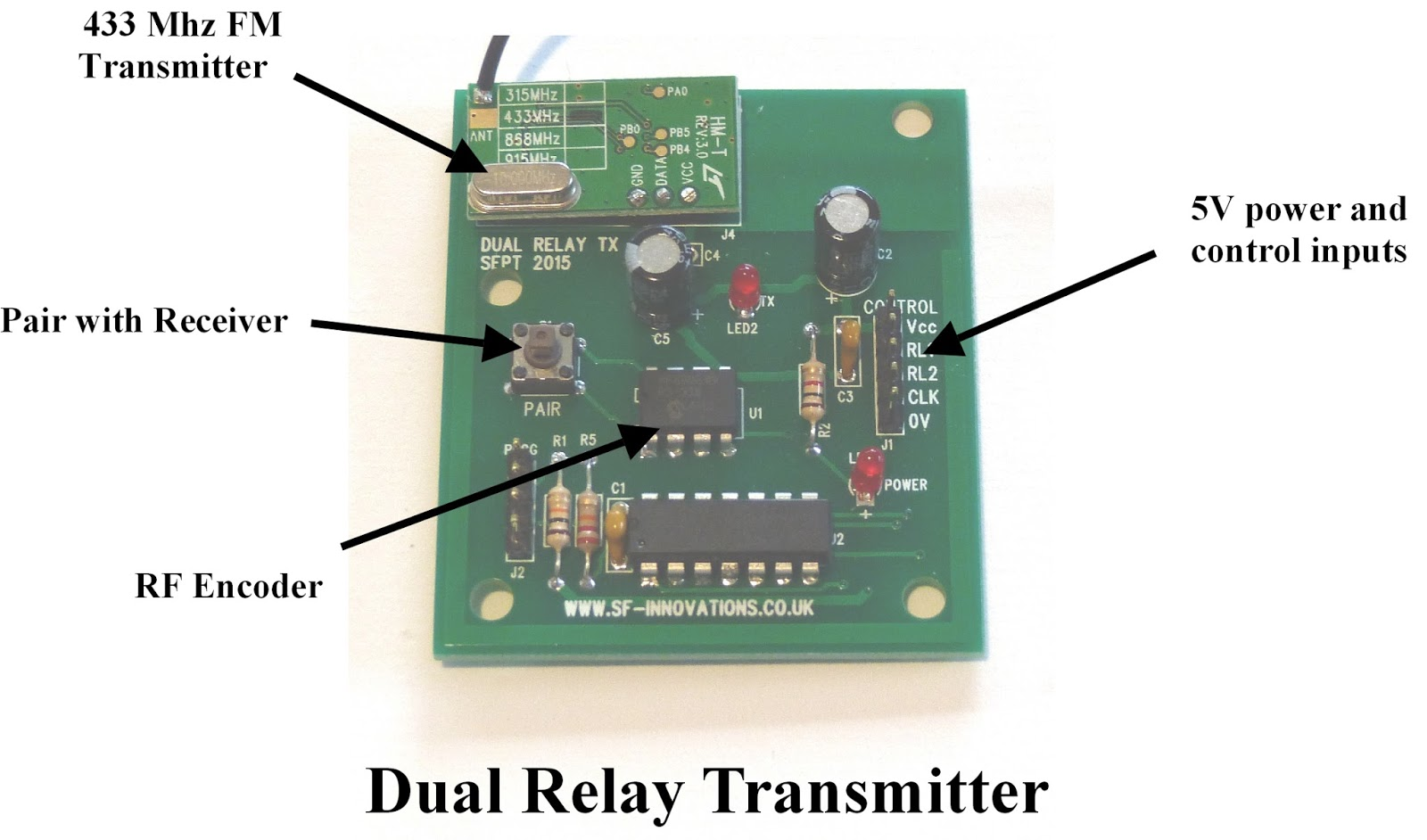 Electronics Raspberry Pi And Home Automation Remote Controlled Relay Wiring Diagram Dual 433mhz Transmitter