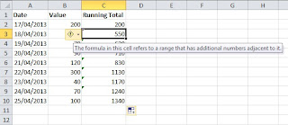 Warning about formula with additional values