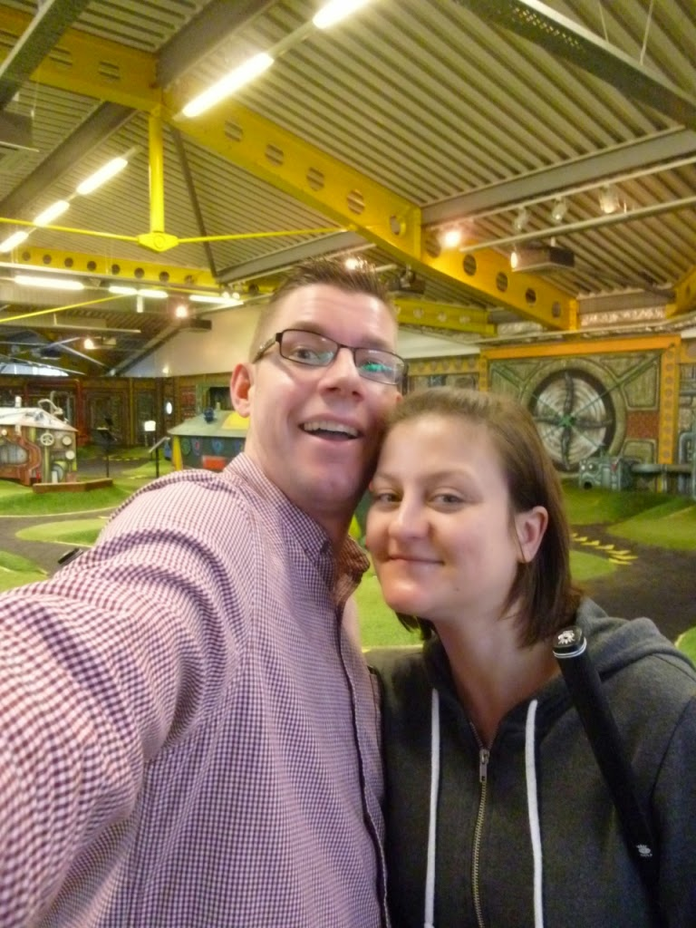 Richard and Emily Gottfried at the first miniature golf course visited in 2015 - The Golfing Holf indoor Adventure Golf course in Swindon