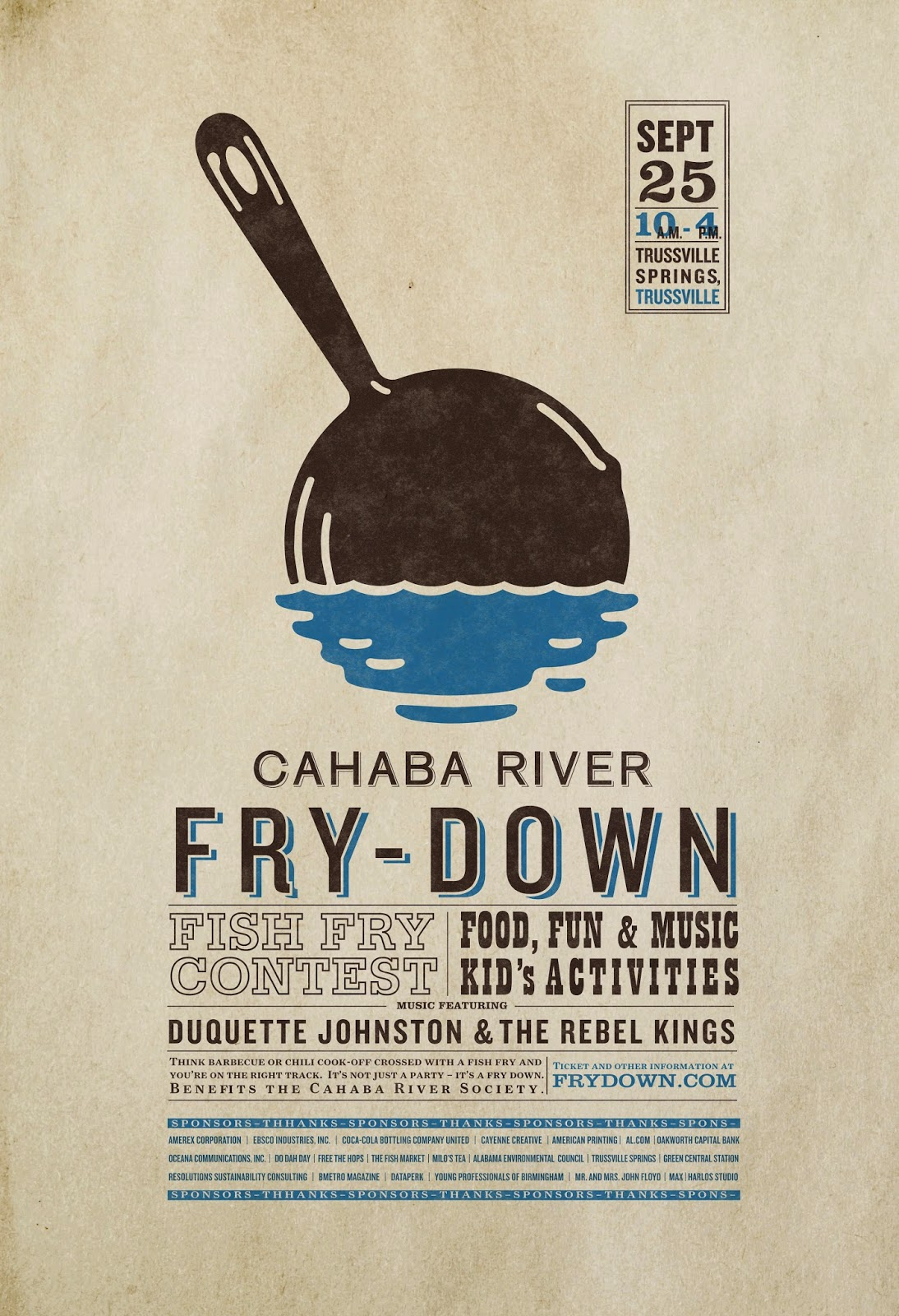 Poster design needed - In The First Poster The Cahaba River Fry Down The Design Is Well Held Together Without Needed To Fill All Of The White Space A Textured Light Colored