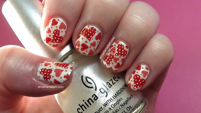Polka Dot Hearts Nail Art