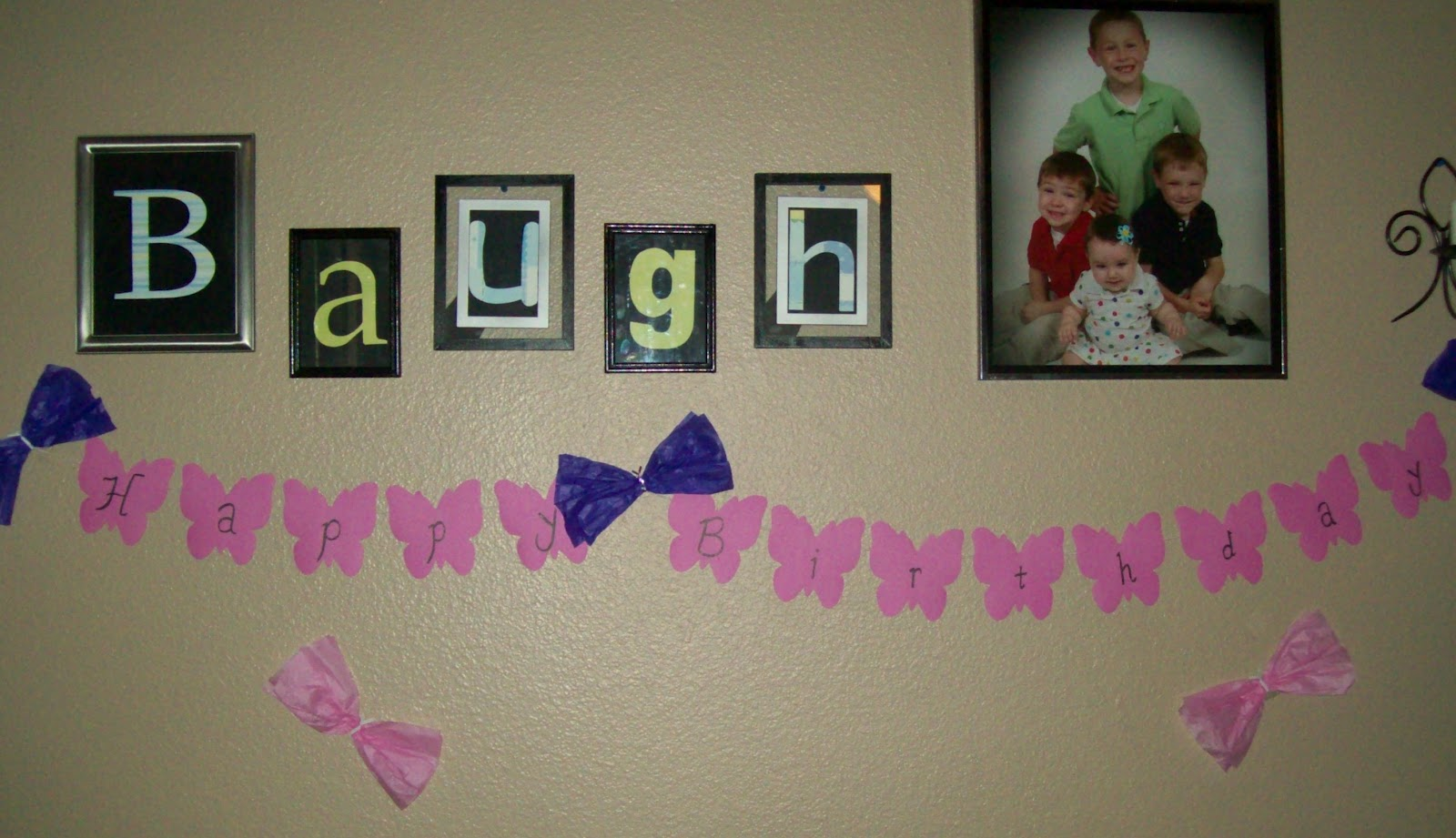 I Bought A Packet Of Pink Butterflies At The Dollar Tree And Used Them To Decorate Here Wrote On Words Happy Birthday Made Into Banner