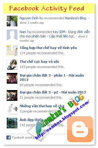 Thêm Facebook Activity Feed Plugin cho Blogger
