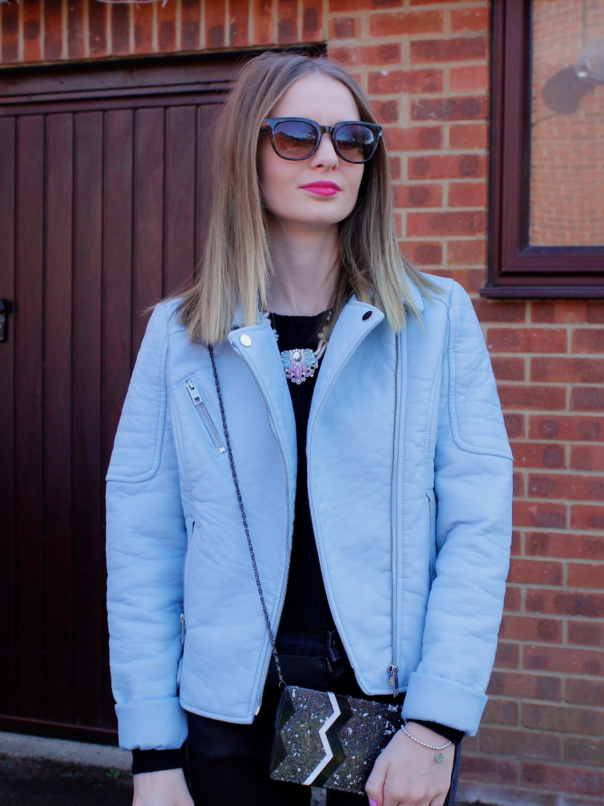 Wearing George at Asda Blue Leather Look Jacket, Warehouse Necklace & Bag